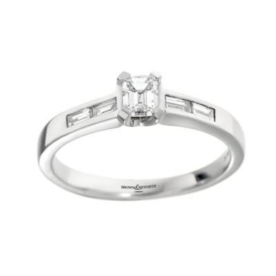 SINGLE STONE EMERALD CUT DIAMOND RING